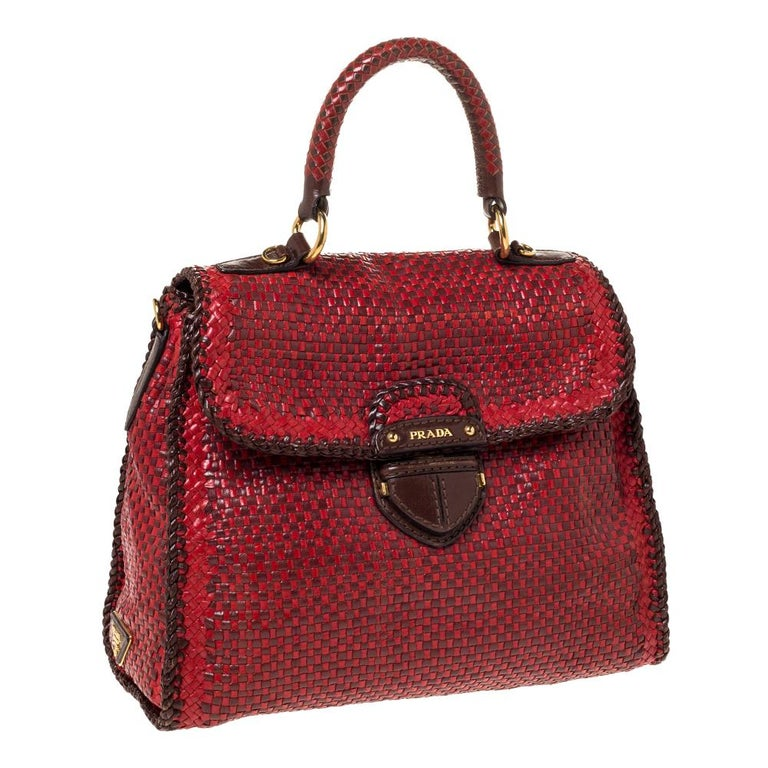 Women's Prada Red/Brown Woven Leather Madras Top Handle Bag For Sale
