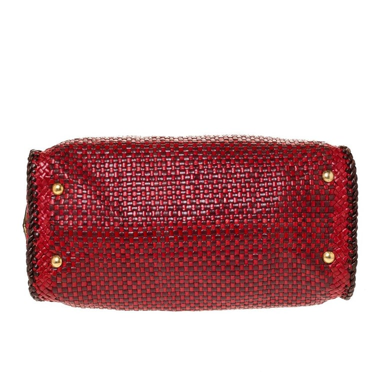 Prada Red/Brown Woven Leather Madras Top Handle Bag For Sale 1