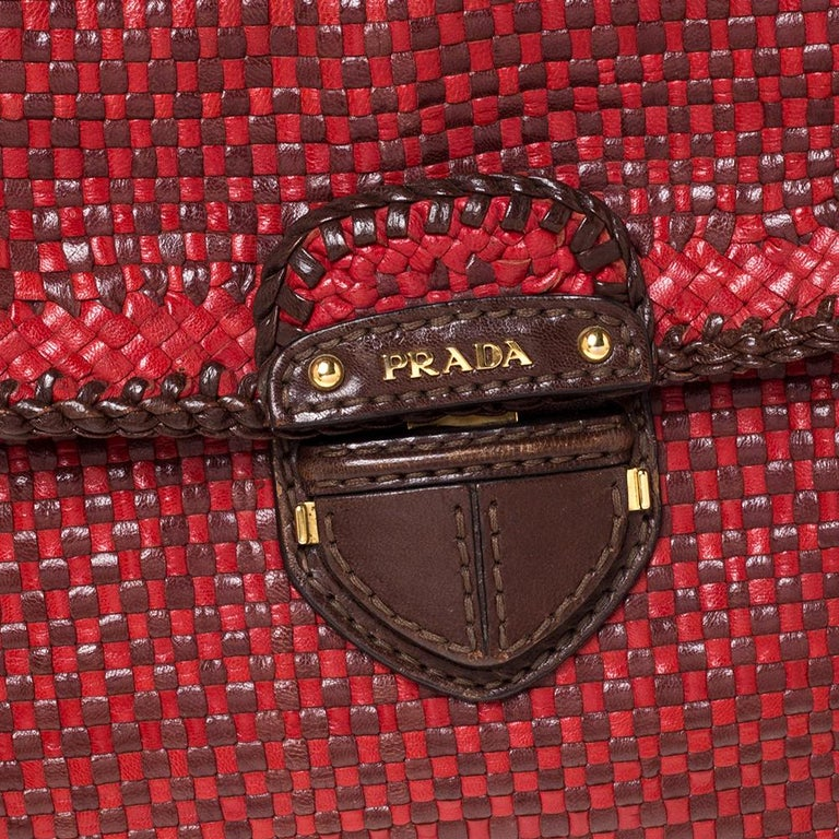 Prada Red/Brown Woven Leather Madras Top Handle Bag For Sale 2