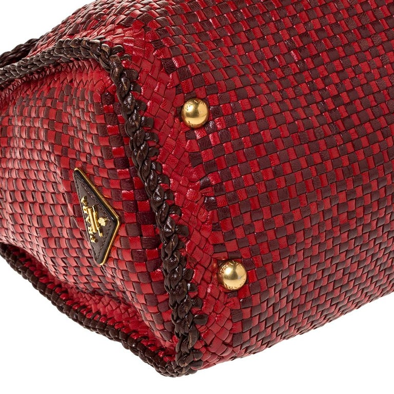 Prada Red/Brown Woven Leather Madras Top Handle Bag For Sale 3