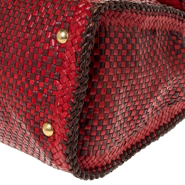 Prada Red/Brown Woven Leather Madras Top Handle Bag For Sale 4