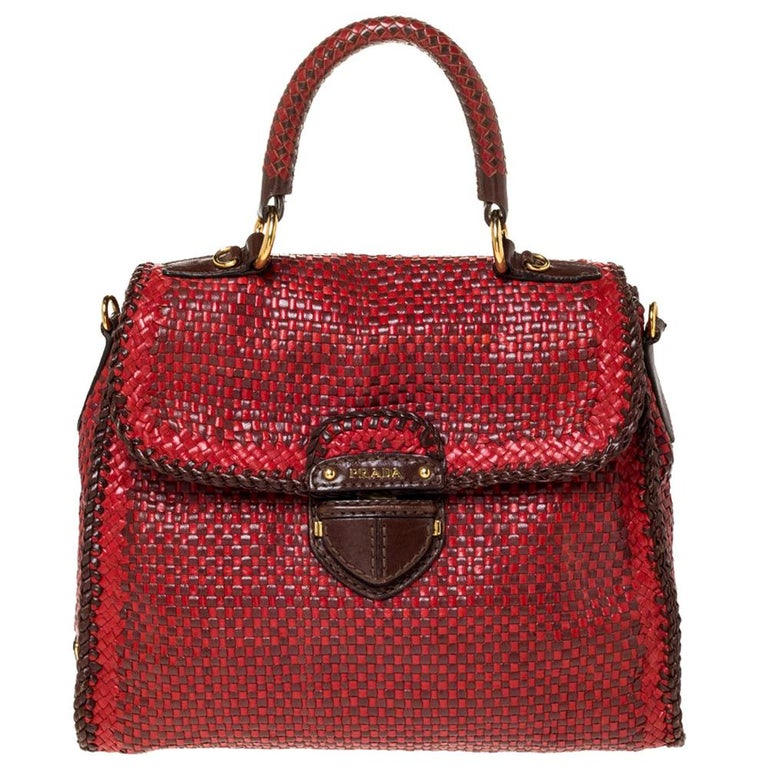Prada Red/Brown Woven Leather Madras Top Handle Bag For Sale