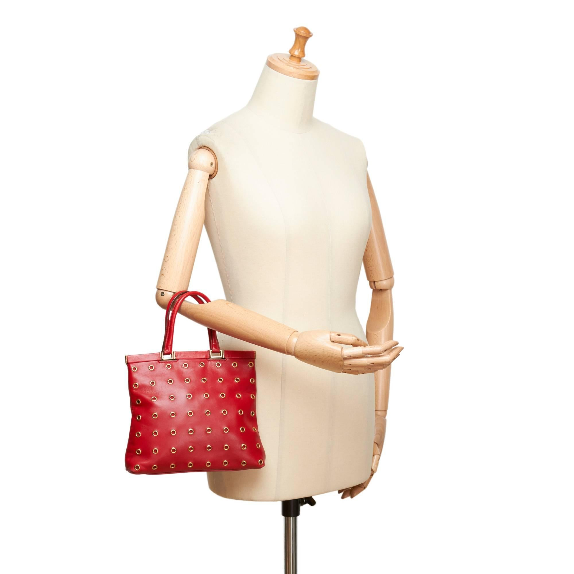 ... top quality prada red calf leather 18 carat gold toned eyelet handbag  for sale at 1stdibs 5fbd26bee3c86