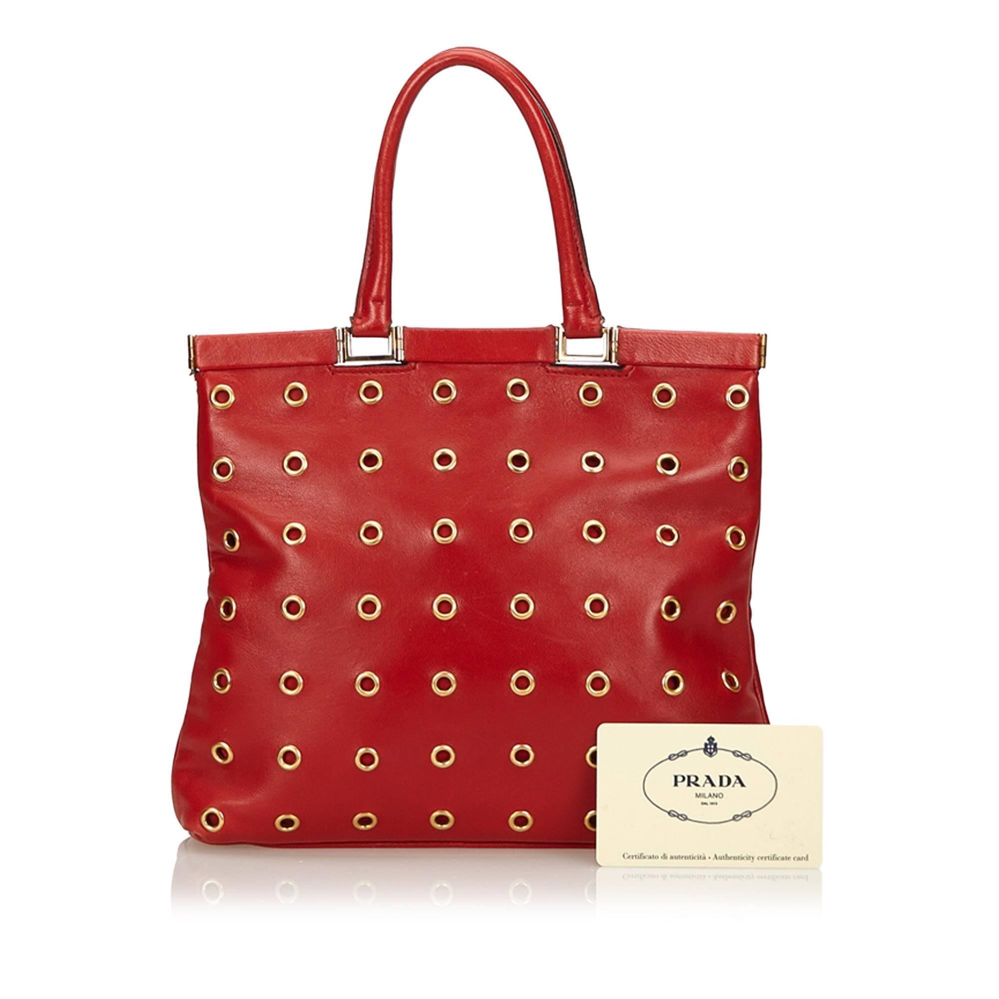 2fe7820cca2a ... netherlands prada red calf leather 18 carat gold toned eyelet handbag  for sale 5 2f317 0be23