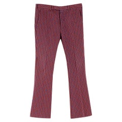 Prada Red Cotton Patterned Flared Smart Trousers SIZE 48 (Italy)