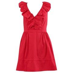 PRADA red cotton RUFFLED SLEEVELESS Dress 42