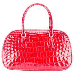 Prada Red Crocodile Leather Vintage Bag, 2000s