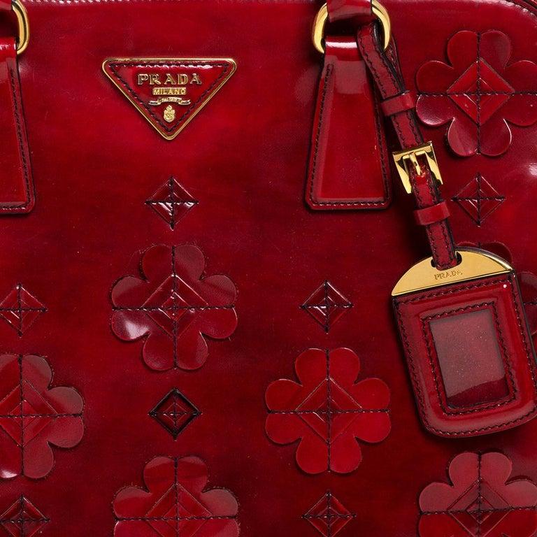 Prada Red Floral Applique Patent Leather Spazzolato Tote 6