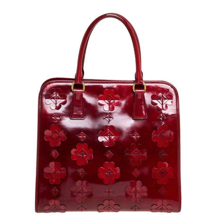Prada Red Floral Applique Patent Leather Spazzolato Tote 7