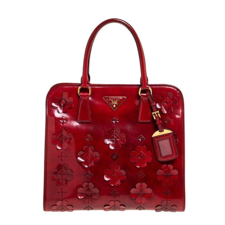 Prada Red Floral Applique Patent Leather Spazzolato Tote 8
