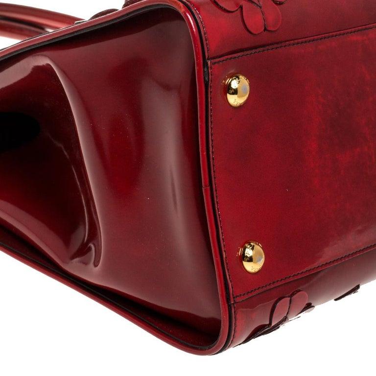 Prada Red Floral Applique Patent Leather Spazzolato Tote 9