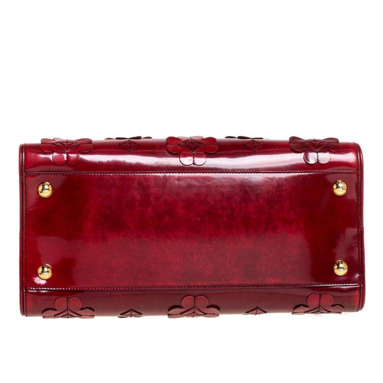 Women's Prada Red Floral Applique Patent Leather Spazzolato Tote