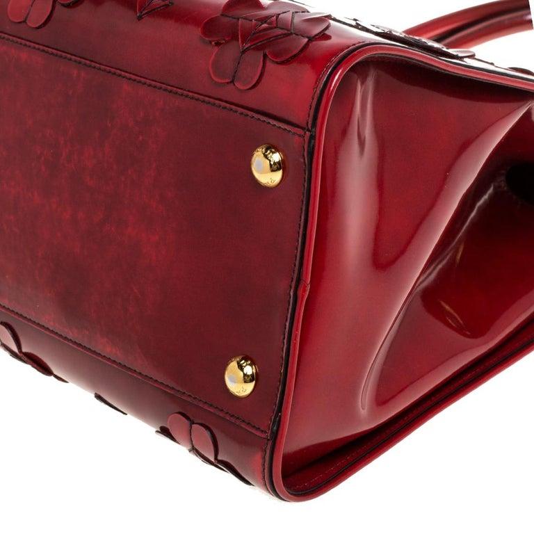 Prada Red Floral Applique Patent Leather Spazzolato Tote 2