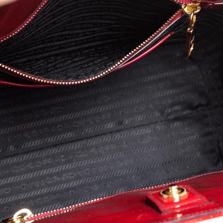 Prada Red Floral Applique Patent Leather Spazzolato Tote 3
