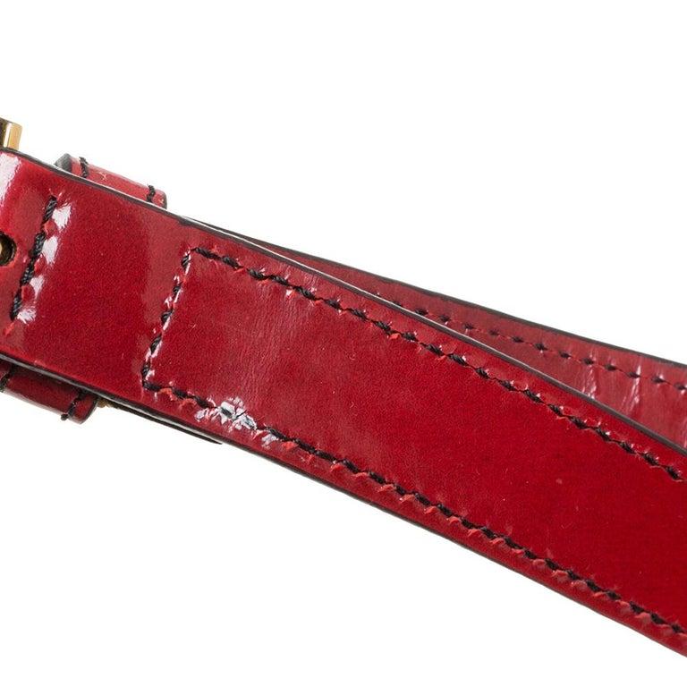 Prada Red Floral Applique Patent Leather Spazzolato Tote 5
