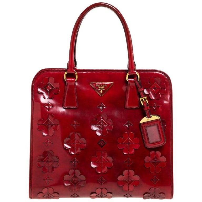 Prada Red Floral Applique Patent Leather Spazzolato Tote