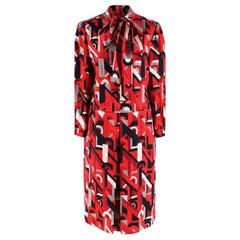 Prada Red Geometric Printed Pussy Bow Dress - Size US 2