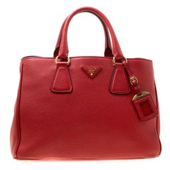 Prada Red Grain Leather Medium Tote