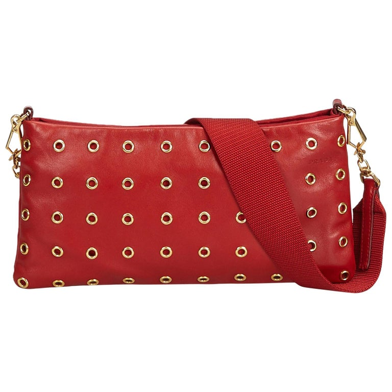 1dbcbebfc18f Prada Red Leather Eyelet Baguette For Sale at 1stdibs