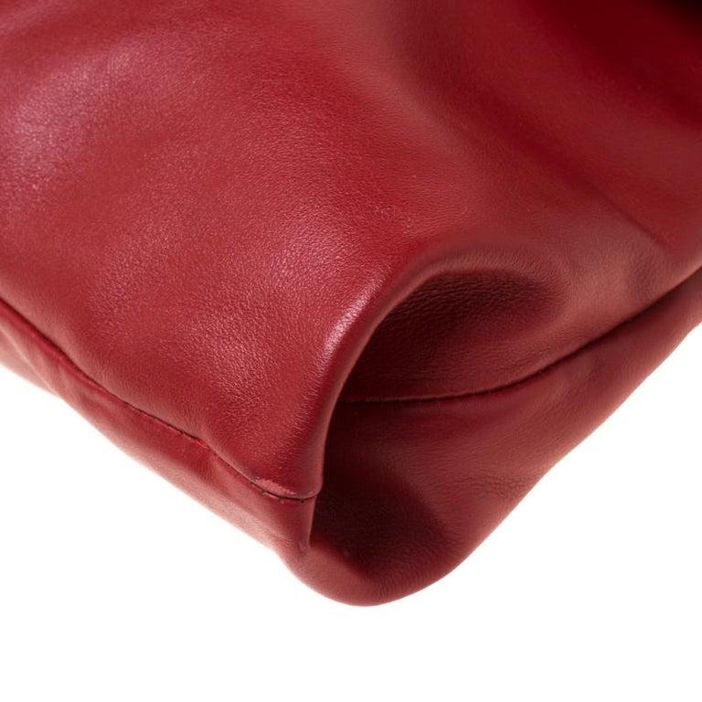 Prada Red Leather Folded Crossbody Bag For Sale 1