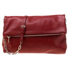 Prada Red Leather Folded Crossbody Bag