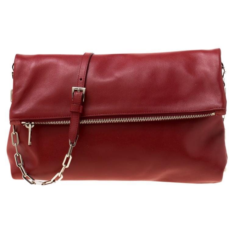 Prada Red Leather Folded Crossbody Bag For Sale