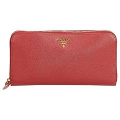 Prada Red  Leather Saffiano Continental Long Wallet Italy