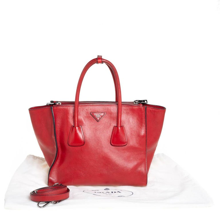 Prada Red Leather Twin Pocket Tote 6