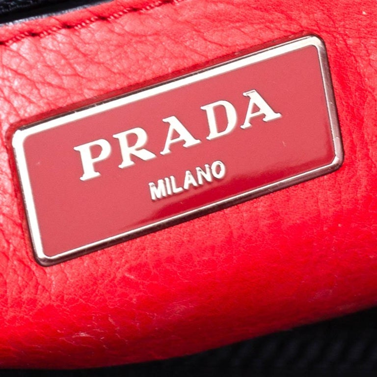 Prada Red Leather Twin Pocket Tote 7