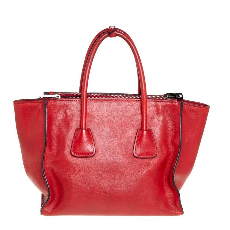 Women's Prada Red Leather Twin Pocket Tote
