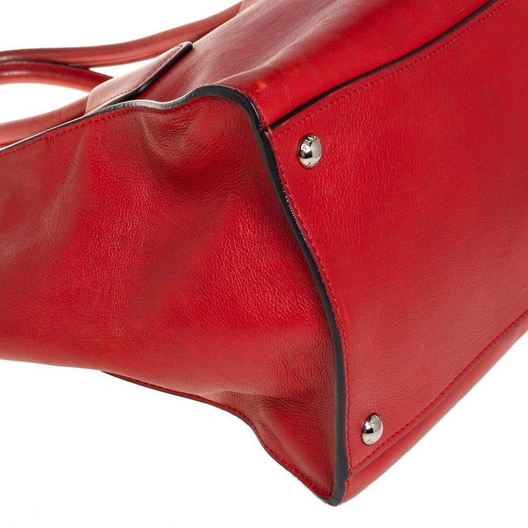 Prada Red Leather Twin Pocket Tote 2