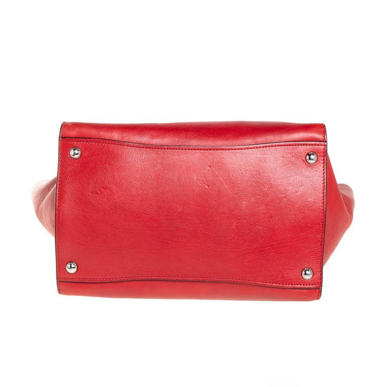 Prada Red Leather Twin Pocket Tote 3