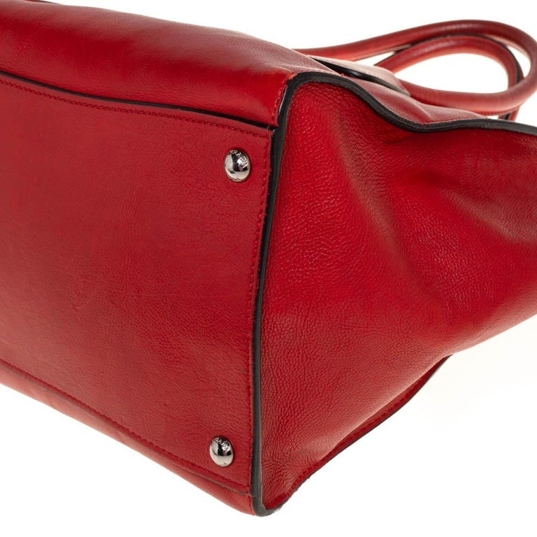 Prada Red Leather Twin Pocket Tote 4