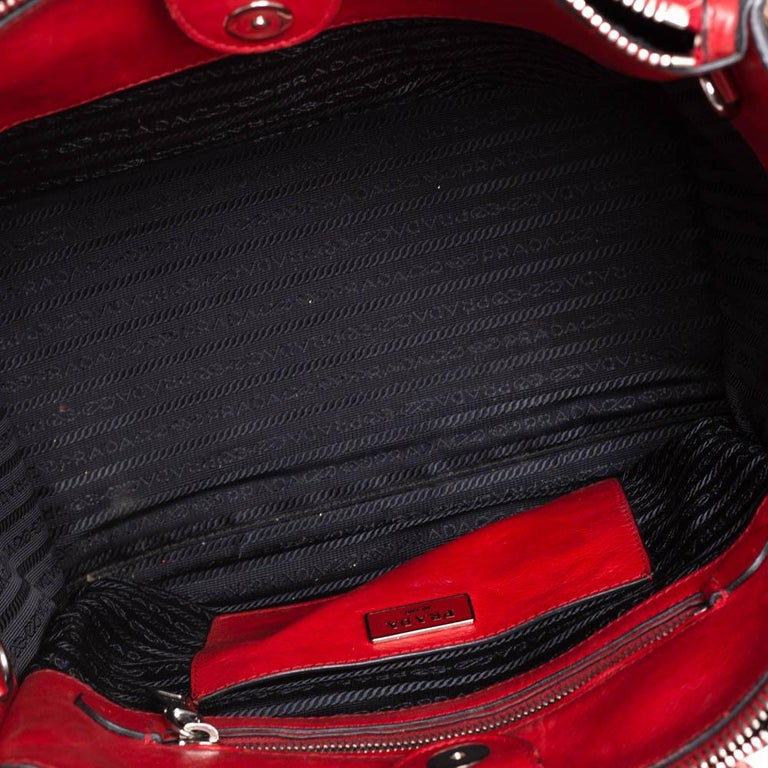 Prada Red Leather Twin Pocket Tote 5