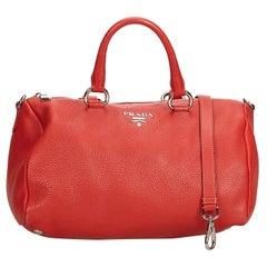 Prada Red  Leather Vitello Daino Satchel Italy