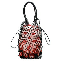 Prada Red Netted Faux Leather Lipstick-print Bag