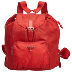 Prada Red Nylon Fabric Drawstring Backpack Italy w/ Authenticity Card