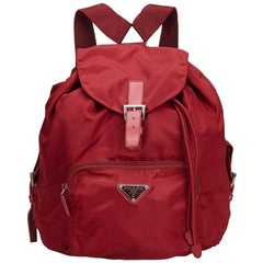 Prada Red Nylon Fabric Drawstring Backpack Italy w/ Dust Bag