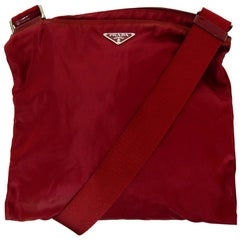 Prada Red Nylon Flat Messenger Crossbody Bag
