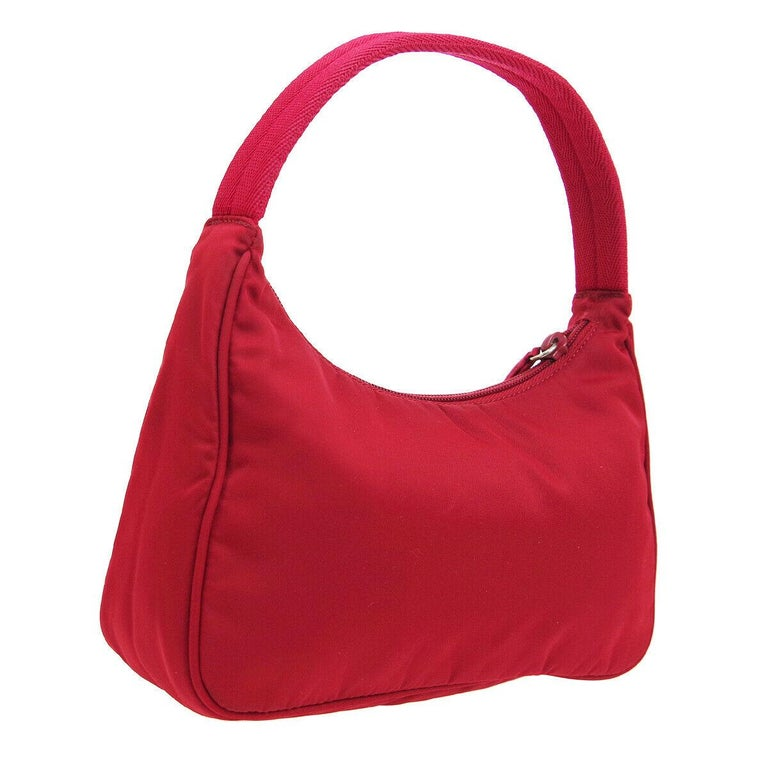 Prada Red Nylon Pochette Evening Top Handle Satchel Shoulder Bag In Good Condition For Sale In Chicago, IL
