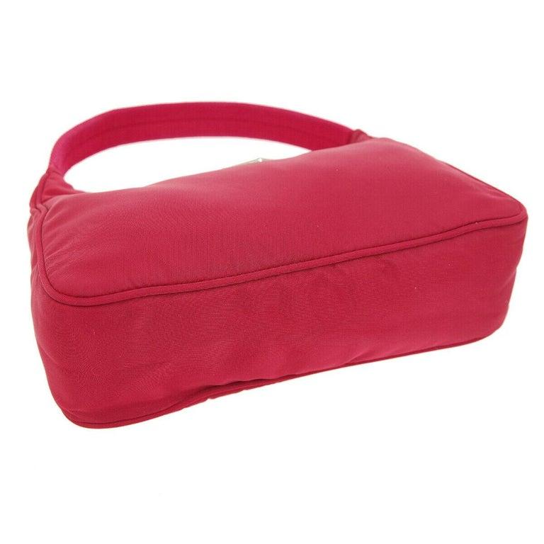 Women's Prada Red Nylon Pochette Evening Top Handle Satchel Shoulder Bag For Sale