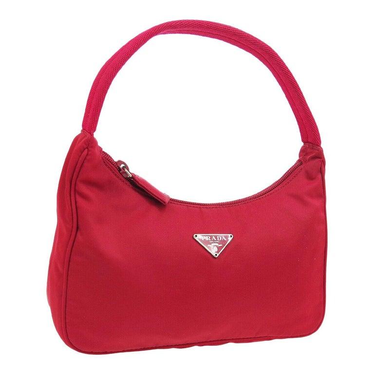 Prada Red Nylon Pochette Evening Top Handle Satchel Shoulder Bag For Sale