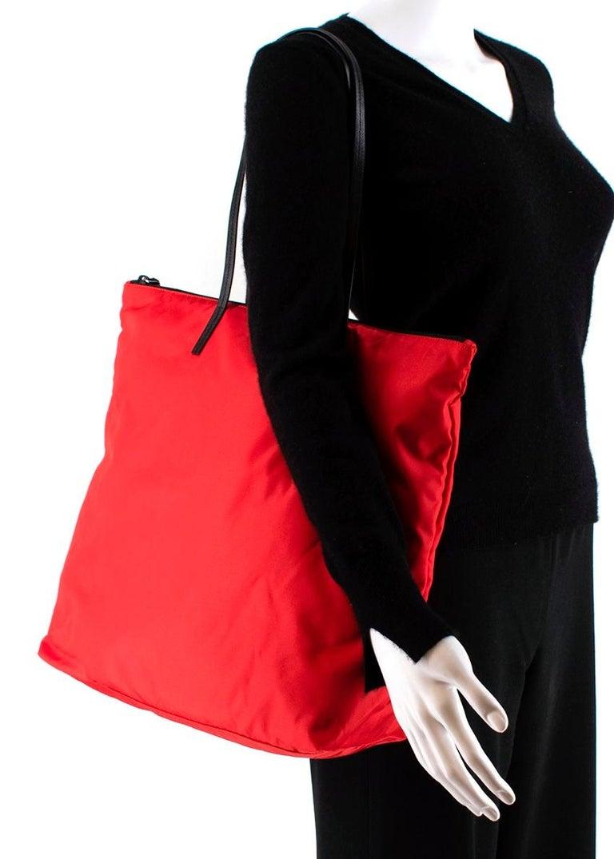 Prada Red Nylon & Saffiano Leather Tote Bag  For Sale 1