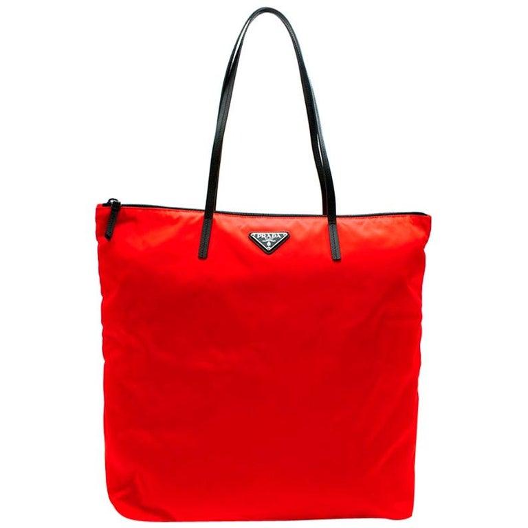 Prada Red Nylon & Saffiano Leather Tote Bag  For Sale