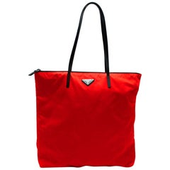 Prada Red Nylon & Saffiano Leather Tote Bag