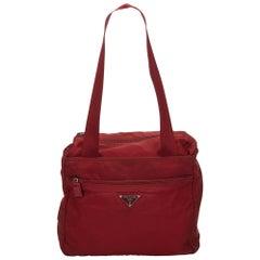Prada Red Nylon Tote Bag