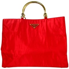 Prada Red Nylon XL Tote Bag W/ Goldtone Metal Handles