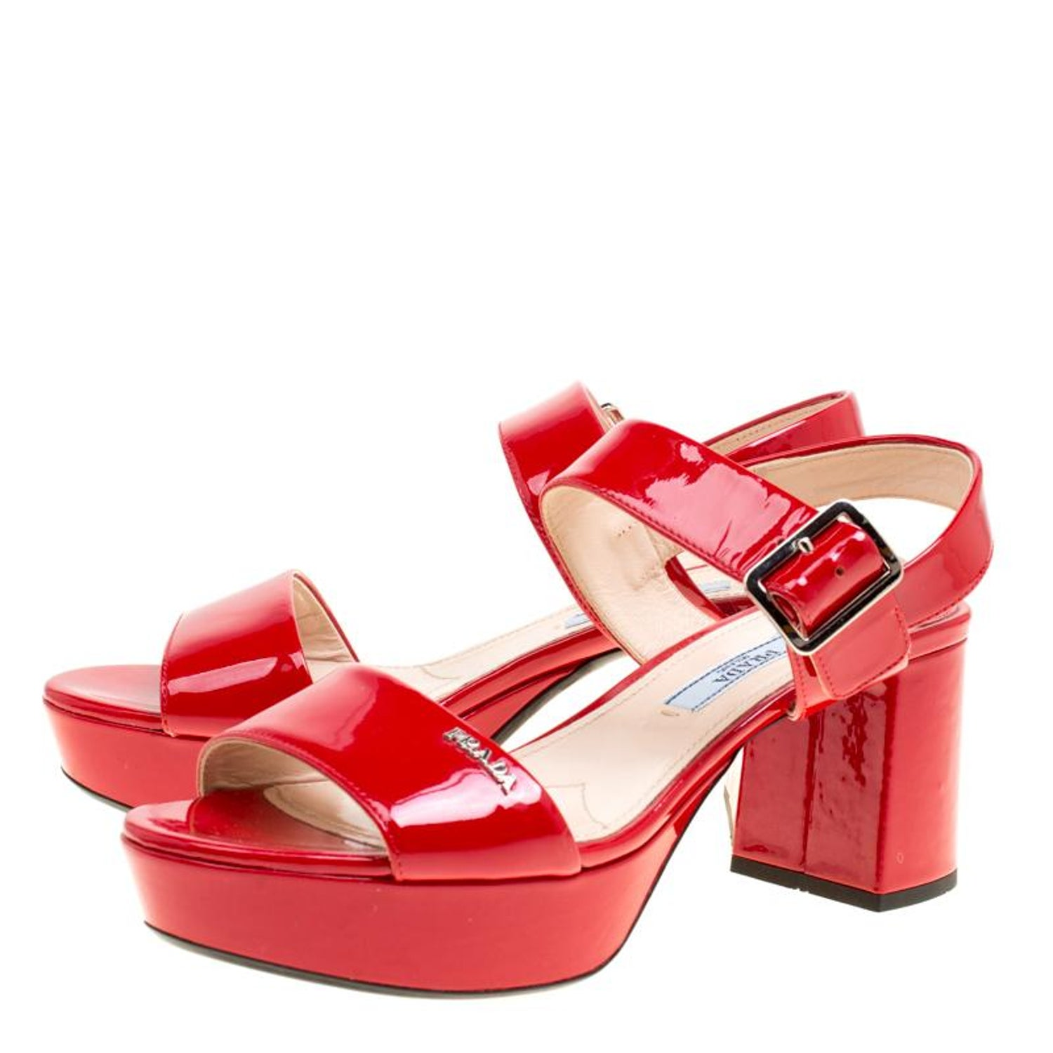 e97a9c7f779 Prada Red Patent Leather Ankle Strap Block Heel Sandals Size 35
