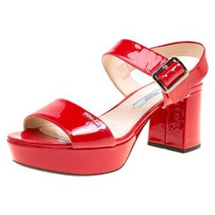 Prada Red Patent Leather Ankle Strap Block Heel Sandals Size 35
