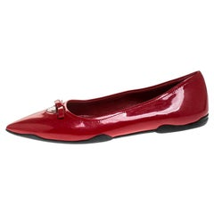 Prada Red Patent Leather Bow Pointed Toe Ballet Flats Size 37.5